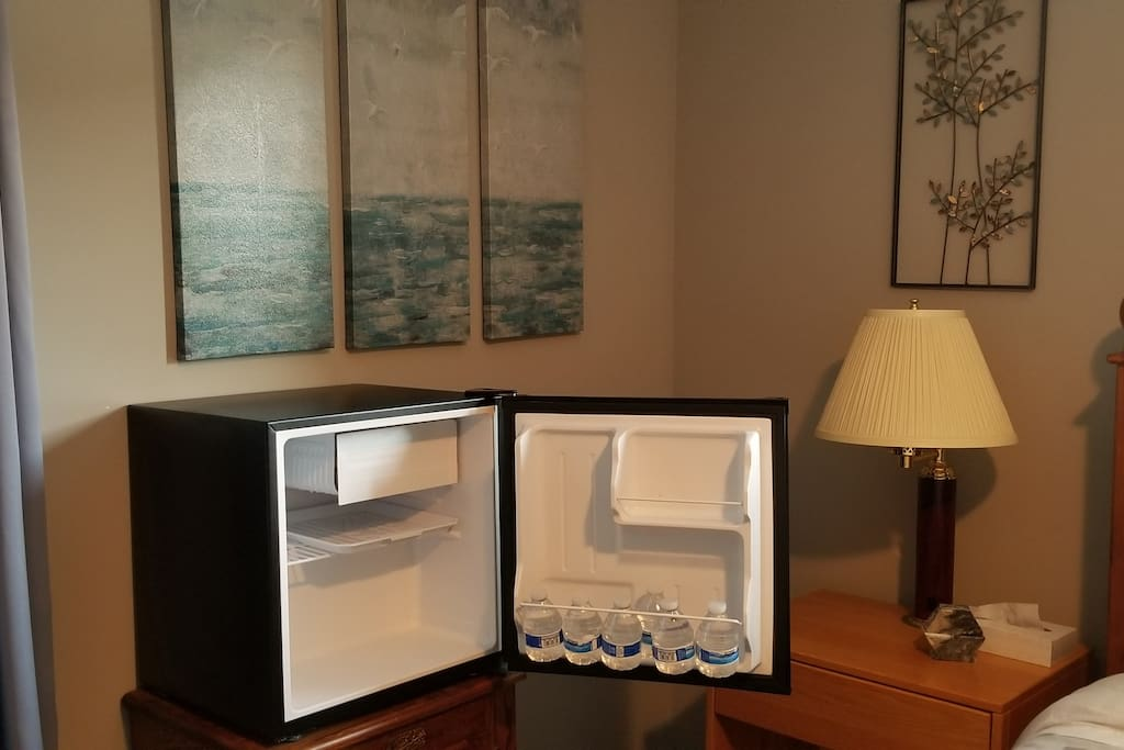 Small refrigerator in guest room