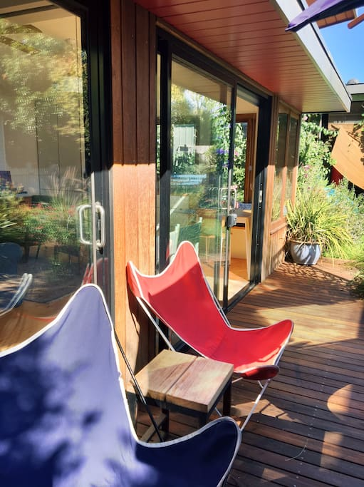 Butterfly chairs and north facing deck catches the sun all day