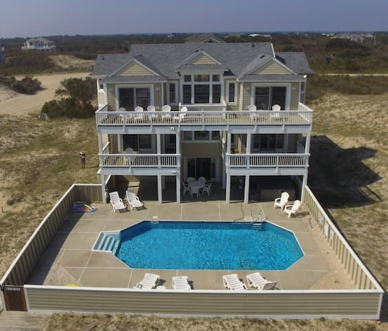 OCEAN DREAMS- Carova OCEANFRONT, pool, hot tub, game rm, prkng pass provided