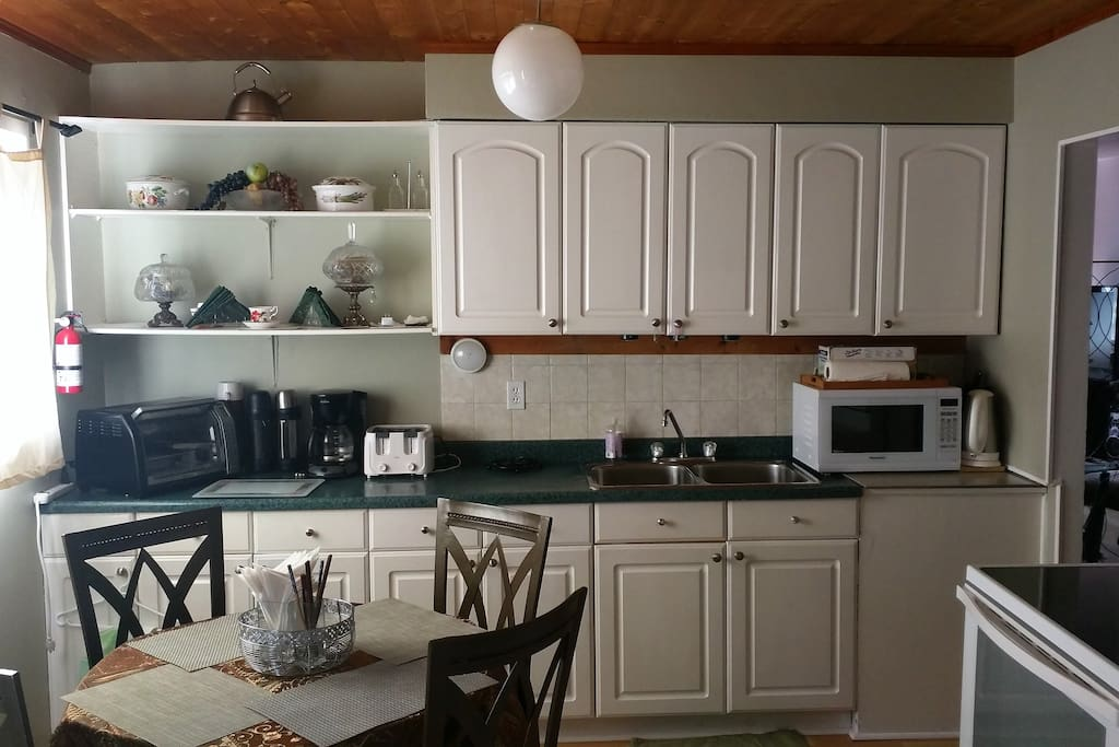 Kitchen with full amenities and goodies to eat