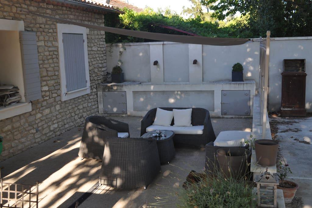 terrasse sous platanne