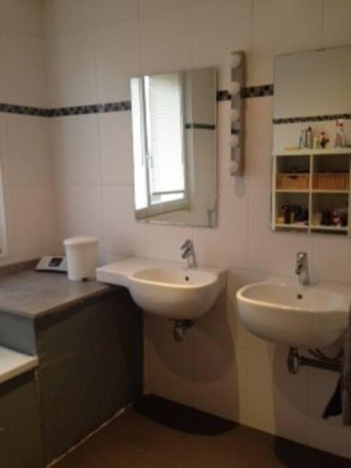 grande salle de bain avec douche italienne et baignoire