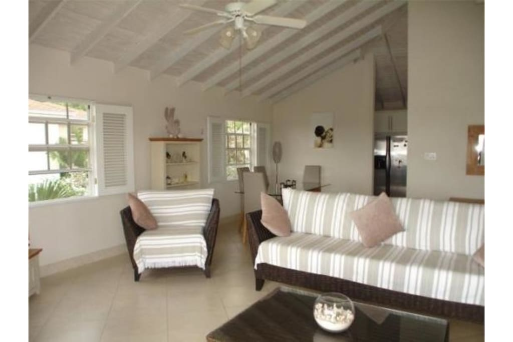Lounge with vaulted ceilings