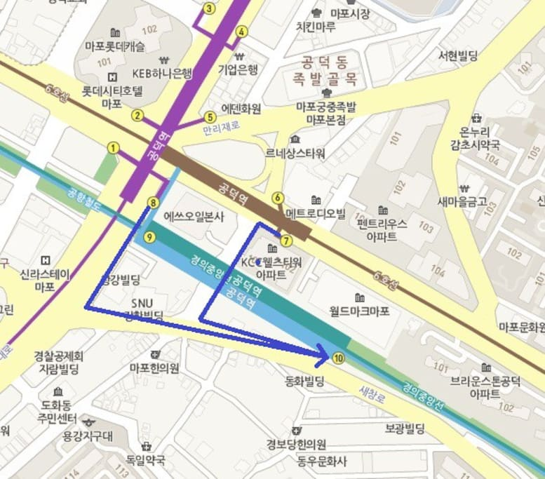 My house is very close to exit 10. But if you just out from other exit, try to find exit 7 or 8 to walk following the blue line to get exit 10.