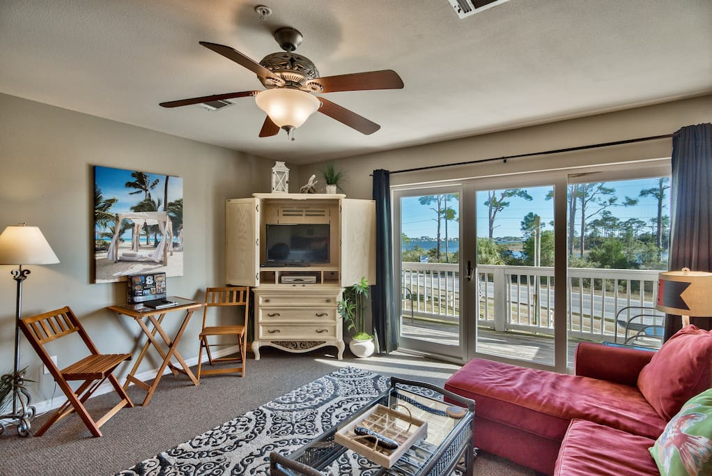 Living room with view of intracoastal waterway