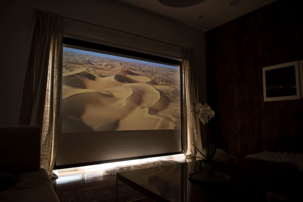 Home cinema with Apple TV in the living room!  You can even watch movies during the daytime.