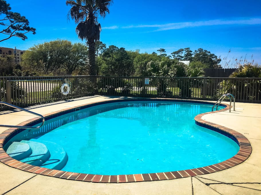Gunite salt water pool is perfect after a long day of fishing and exploring the Island!
