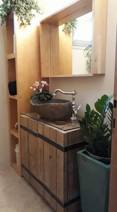 cozy furnished toilet sink shower room