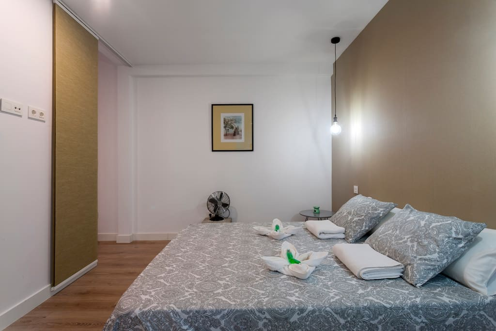 Very cozy bedroom with double bed to enjoy the rest in a romantic environment