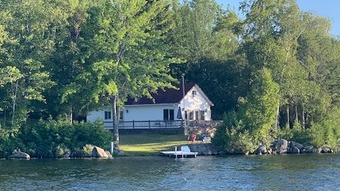 Panoramic view lake cottage