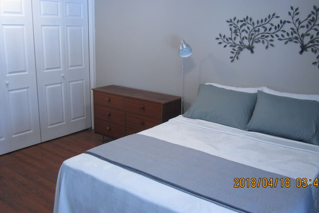 Have a peaceful nights slept in the luxury queen bed. Full access to closet and dresser.