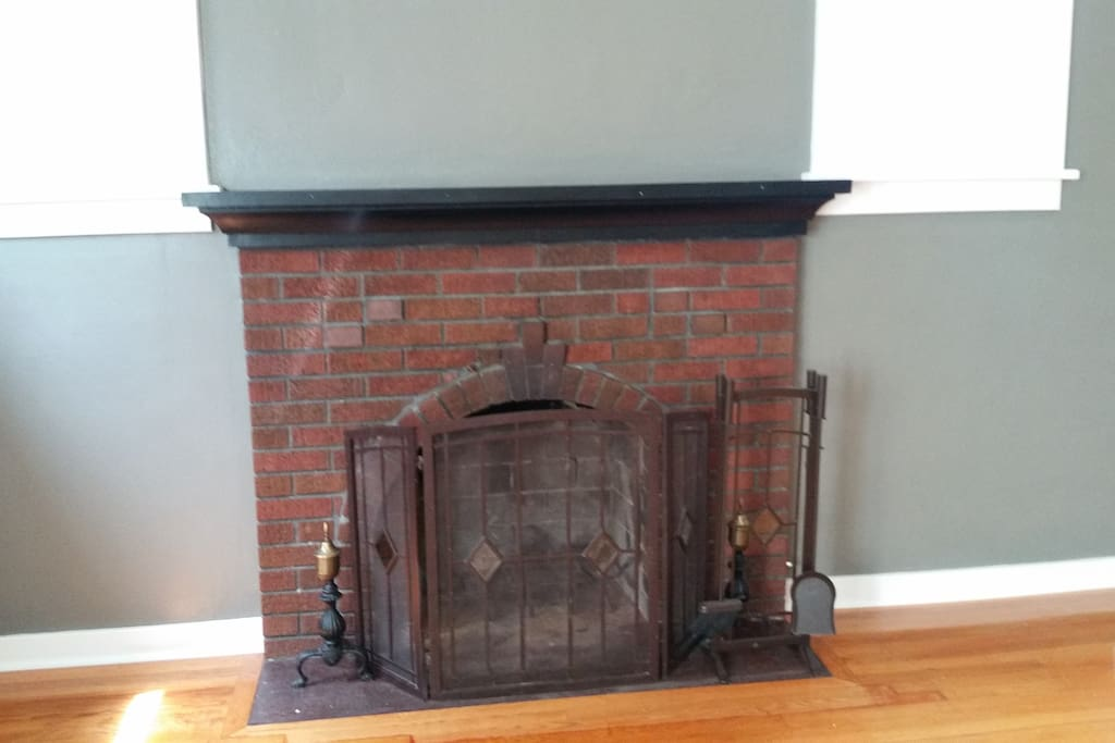Fireplace upstairs living room more private for homeowner. But main be room for rent has same fireplace downstairs.