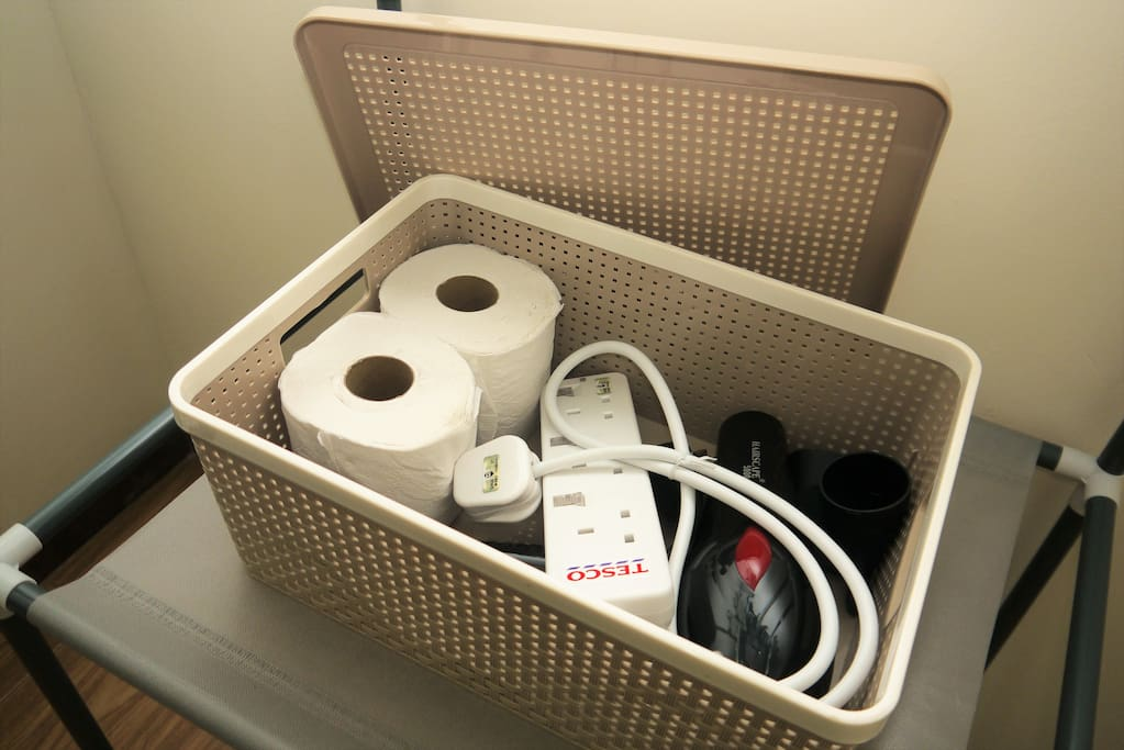 Toilet Paper, Wire Extension & Hairdryer are provided