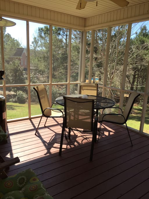 screened porch with grill access