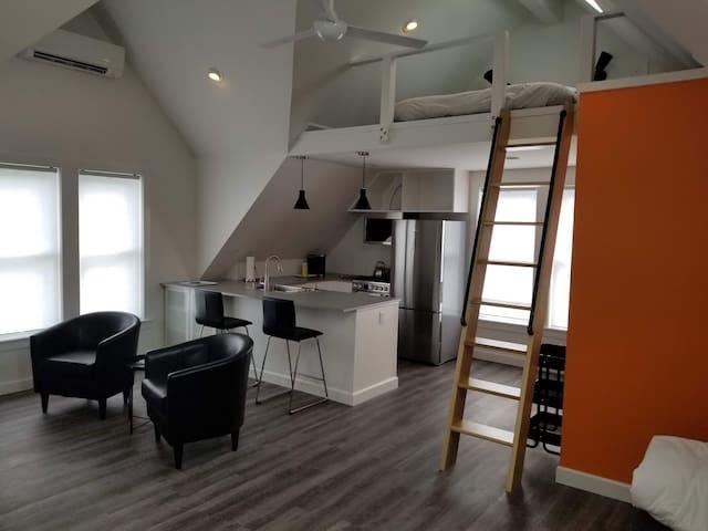 Koko's Loft.  Modern, convenient, quiet and clean.
