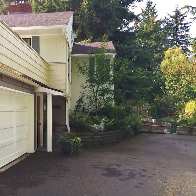 The house has a long, spacious driveway: plenty of room to park your car and for kids to play.
