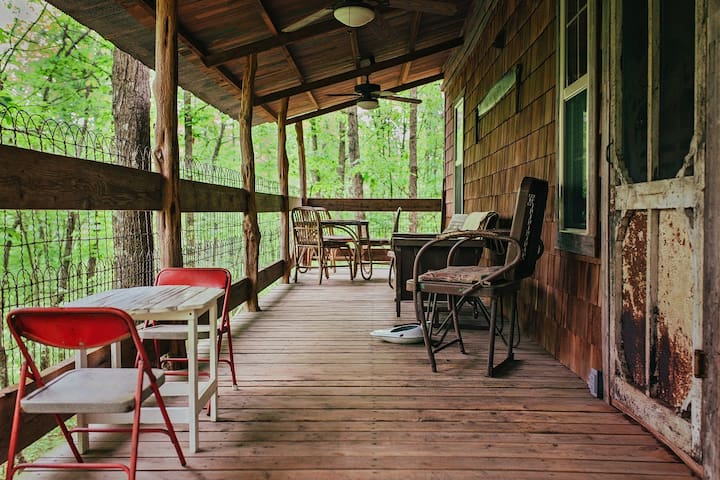 Porch with ceiling fans
