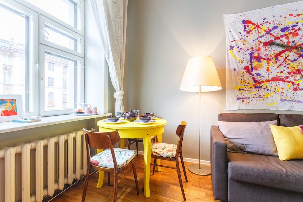 We are in love with our furniture of 50s, brought to life with our hands)) the chairs with bright parrots on a textile are my favorite))