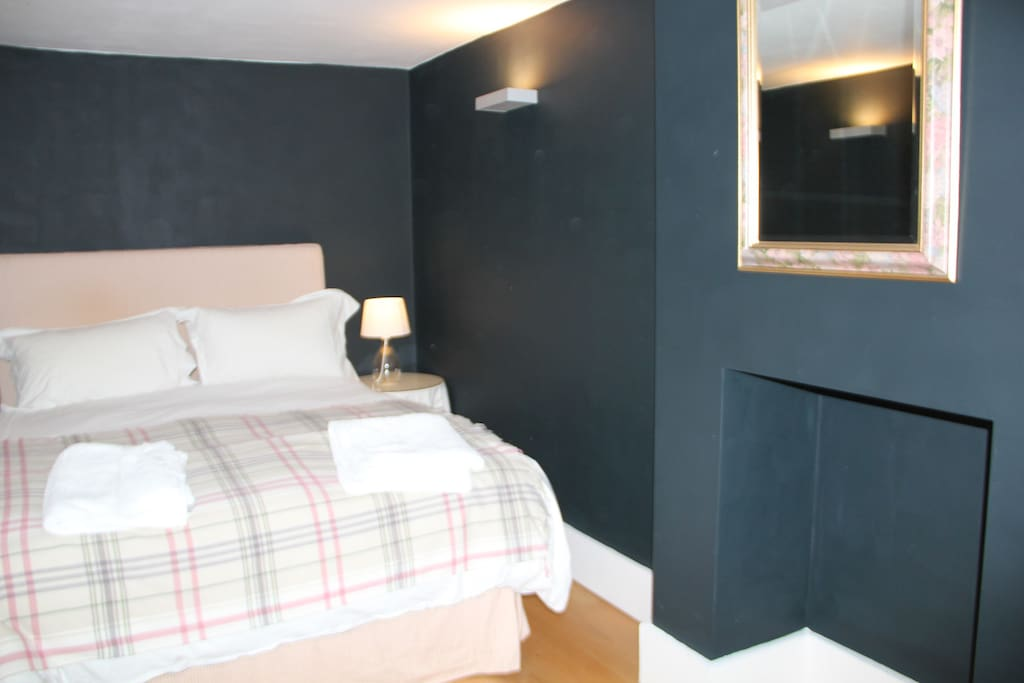 comfortable double bed with Egyptian cotton sheets, goose down pillows and duvet