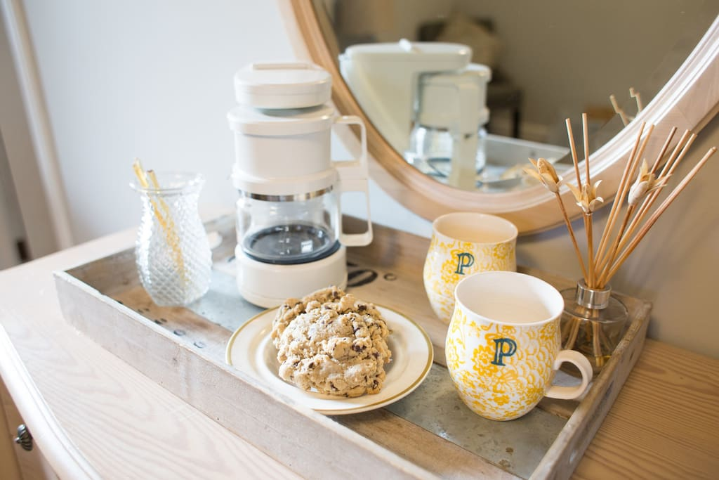 Scones, coffee/tea, and local honey sticks.