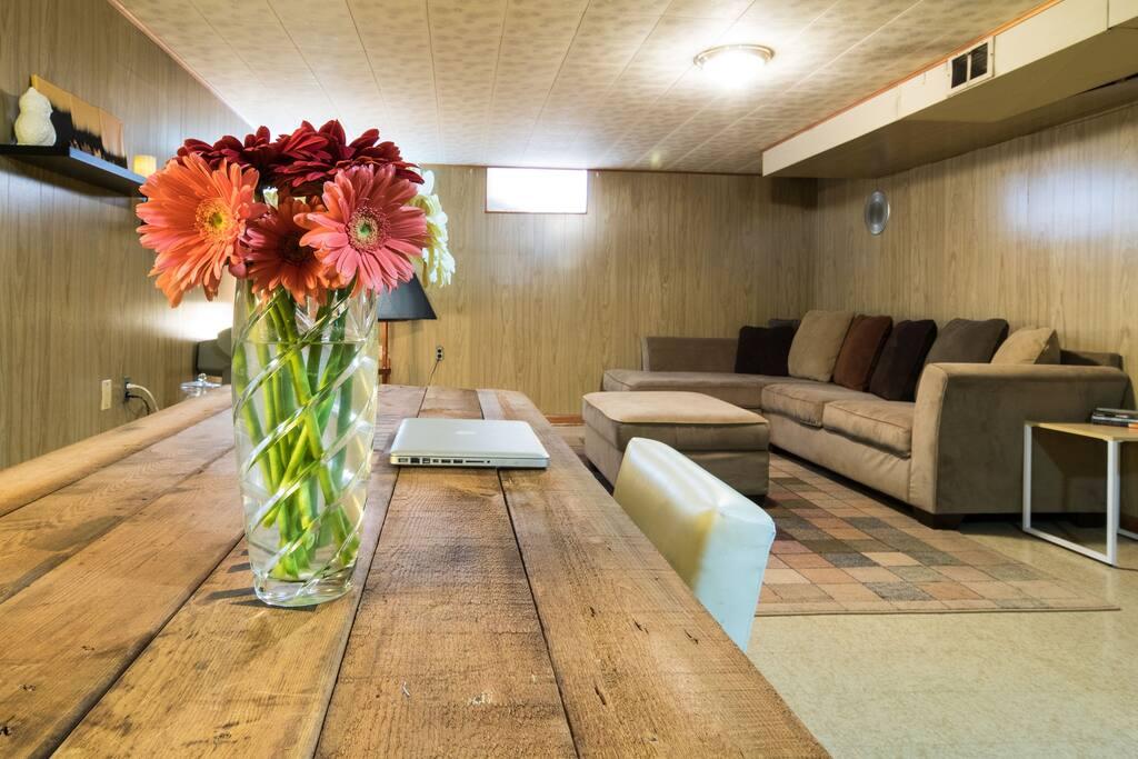 Basement living room / office space