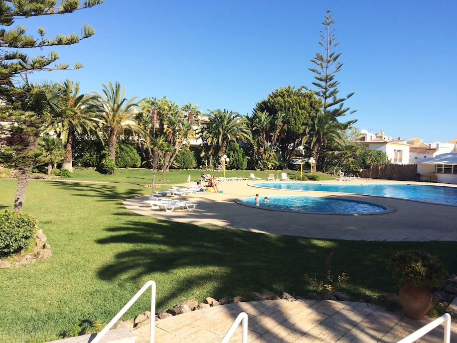 Large garden and outdoor swimming pools