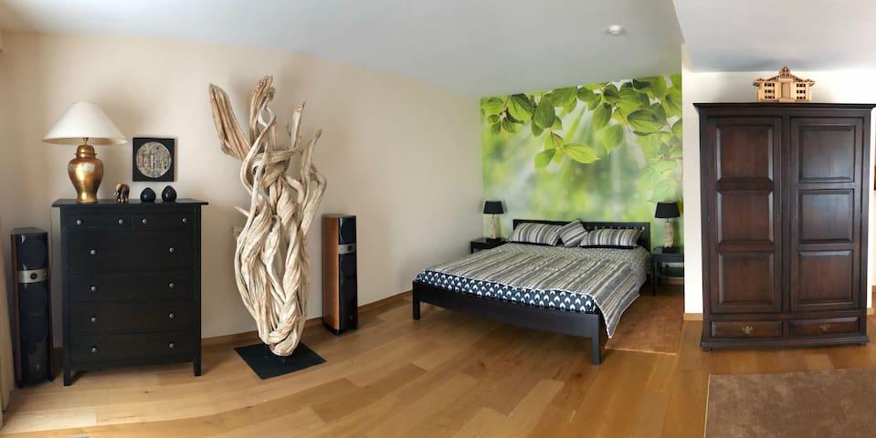Un coin chambre avec un lit king-size, une commode et une double penderie
