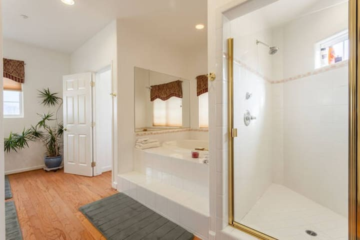 The bath room also has a large shower and bath tub.