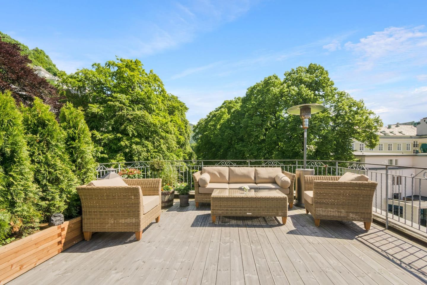 Welcome to our rooftop garden. Relax outside after shopping or sightseeing.