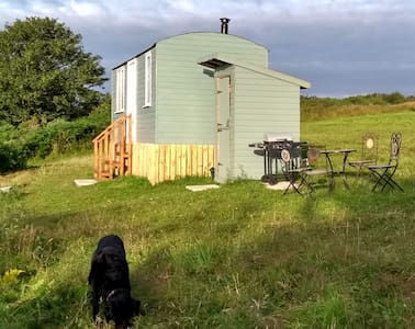 Unique shepherd's hut with stunning Anglesey view.