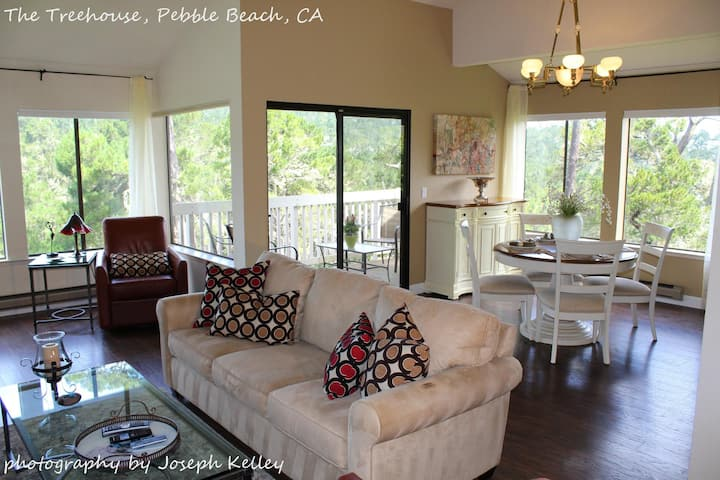 Pebble Beach Tree House  Views of the Ocean Vaulted Ceilings Close to Everything