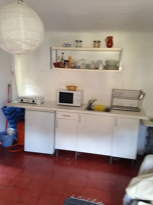 galley kitchen cooker, fridge and micro