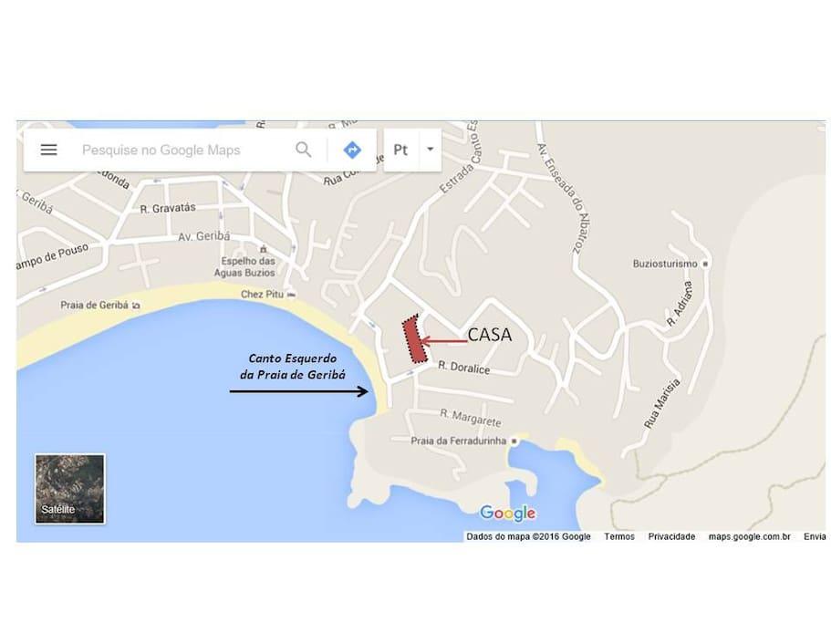 Localização da casa Próximo se encontra também a Praia da Ferradurinha