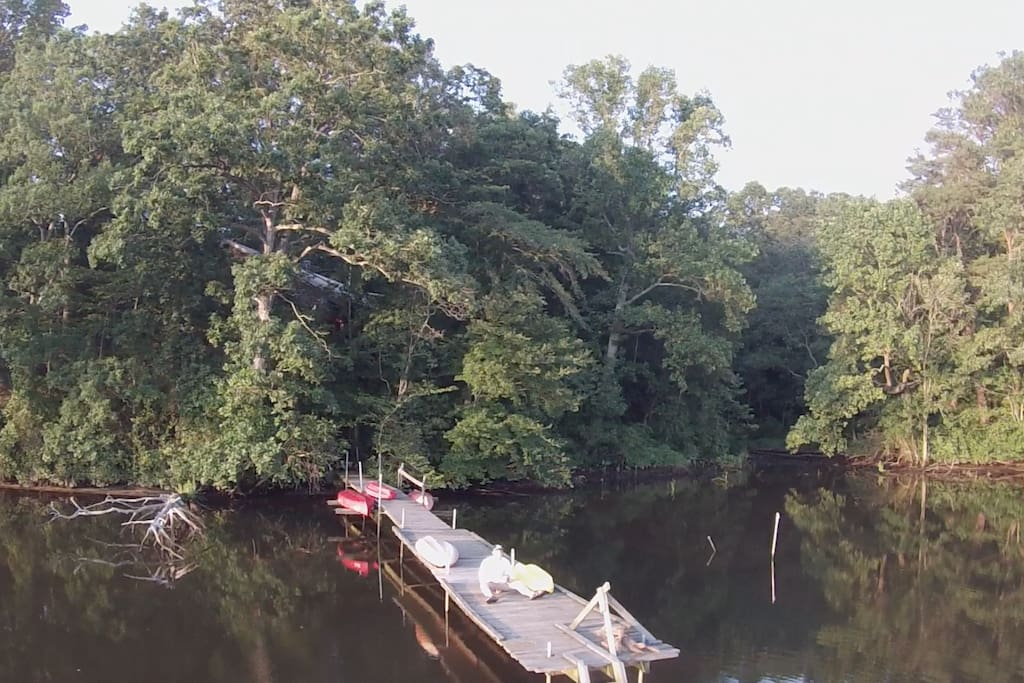 Drone view of dock at RiverHouse during summer 2016