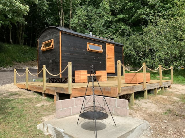 Luxury, off grid shepherds hut in cider orchard :)