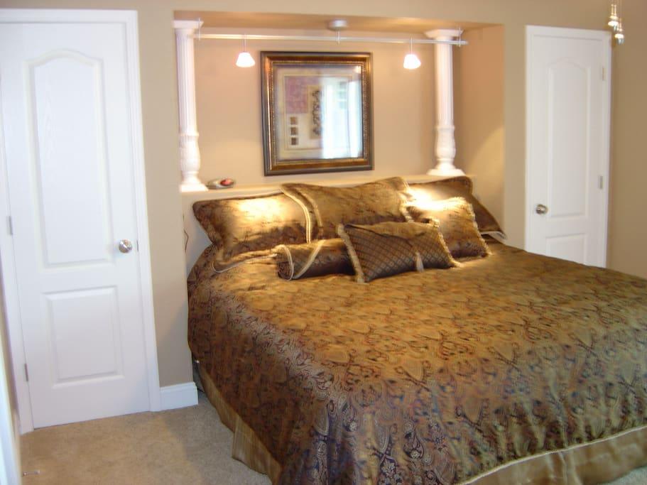 Bedroom 1 with adjacent bath