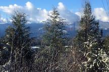 Winter view from guest suite of Schweitzer Mountain Ski Resort.