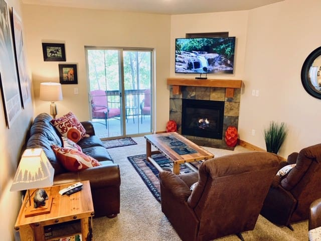 Cozy living space with flat screen TV