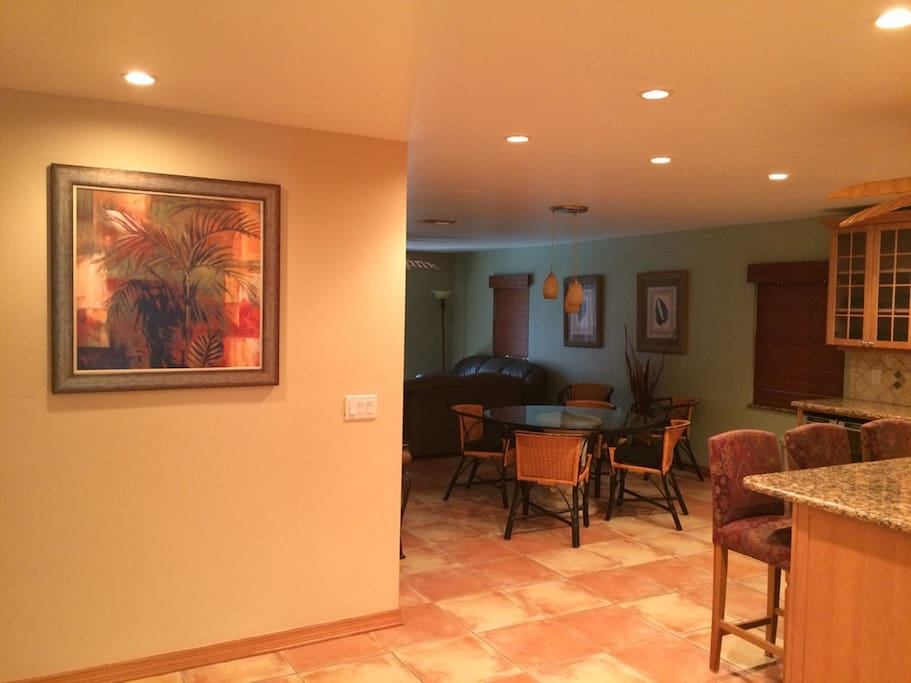 Open kitchen, dining and living room