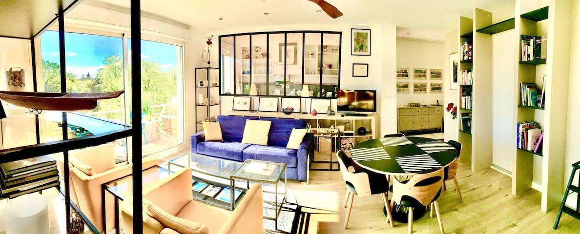 Etape idyllique, appart 2 chambres, lisière parc