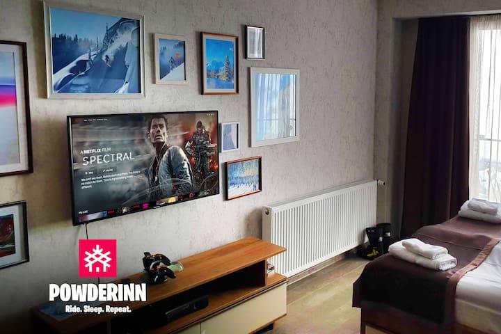 Powderinn - 0 min to ⛷️, xbox, Netflix & ☀️⛰️ view