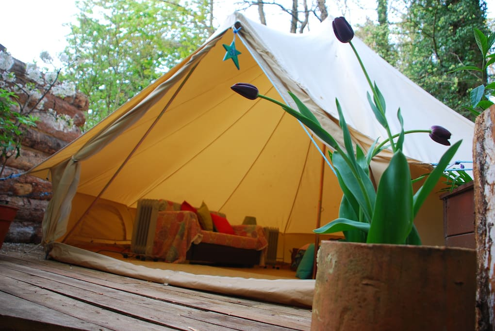 The beautiful bell tent tents for rent in ryde isle of for Woods bathrooms isle of wight