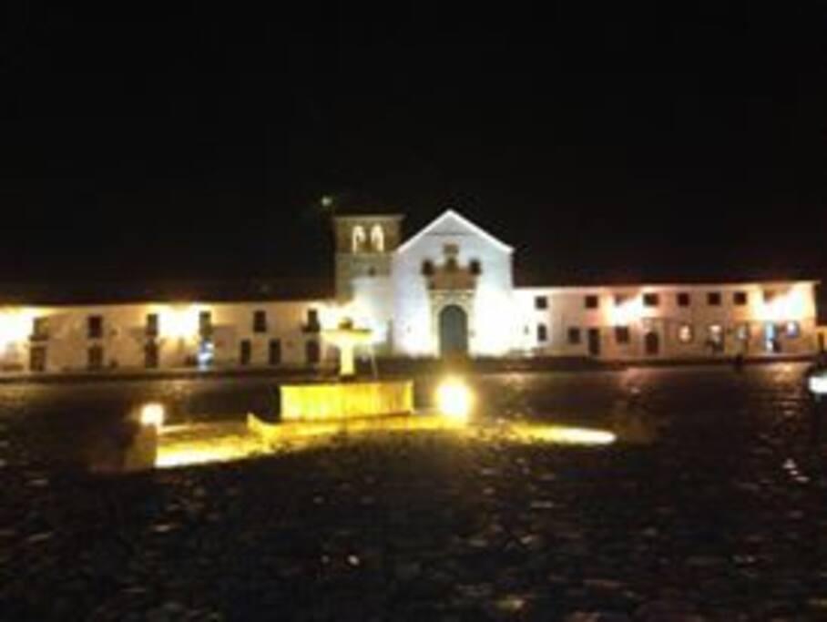Villa de Leyva plaza at night.