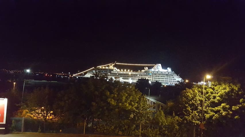 View from master bedroom. Summer cruise ships