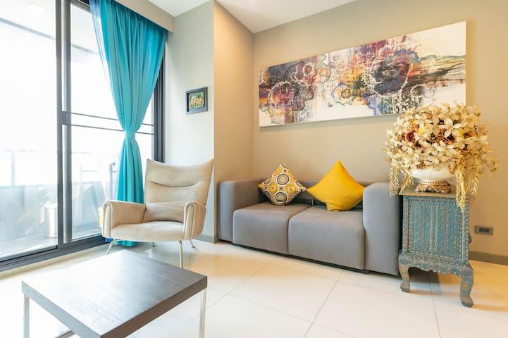 免费接机/曼谷Silom区/BTS轻轨站Chongnonsi舒适一居室2-3人