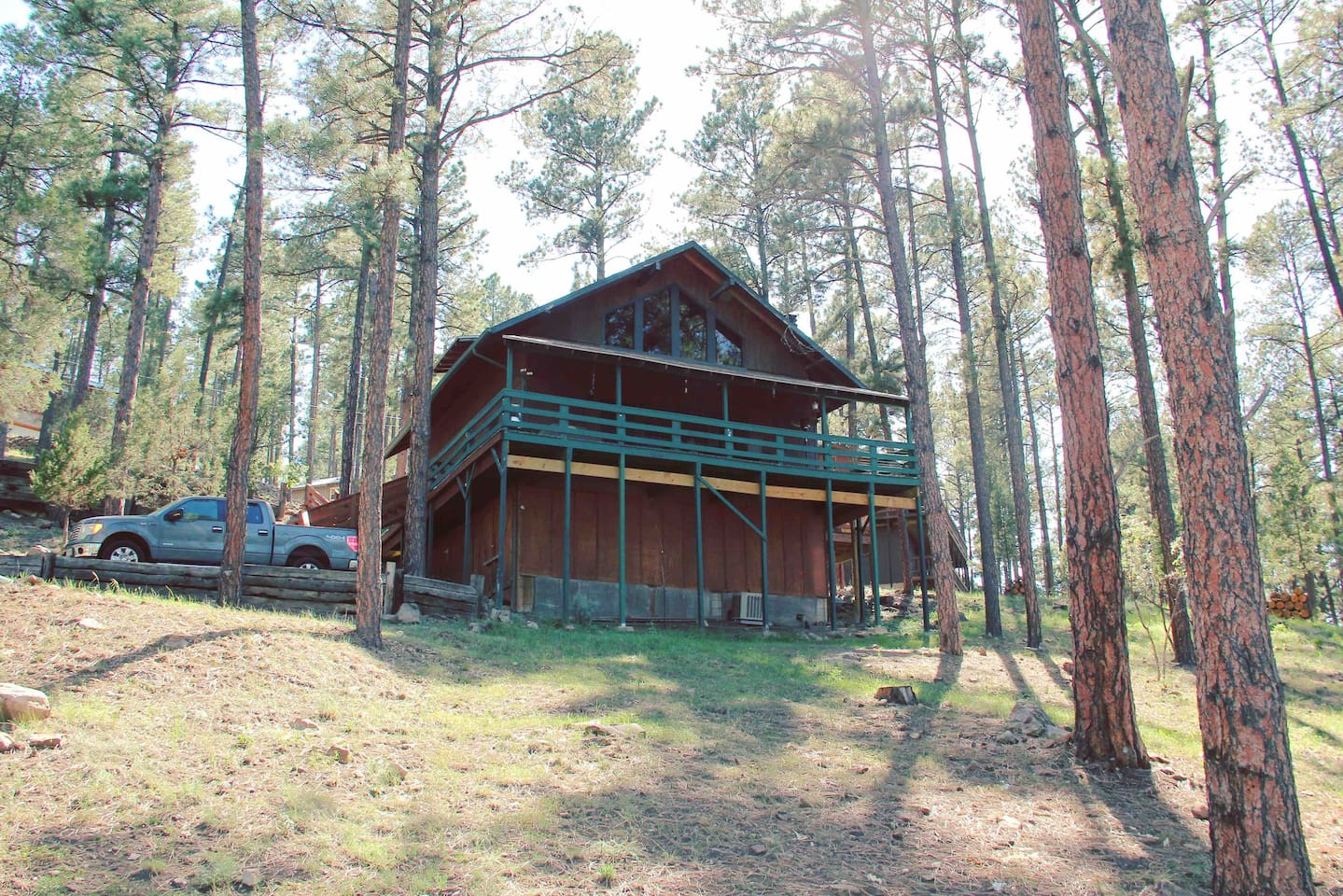 Look at that covered deck! It wraps around 3/4 of the cabin and often this is the area where you will see deer, elk, and other wildlife.