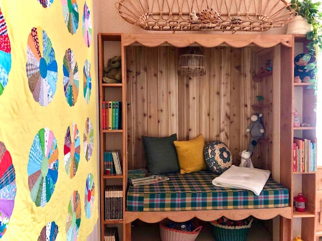 """""""Kid's Room"""" has a bunk bed with a full bed on the bottom and twin on top.  The built in nook is a bonus sleeper for a child."""