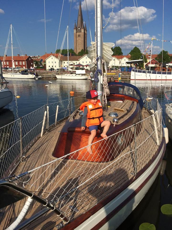 Lovely boat at the harbour of Mariestad