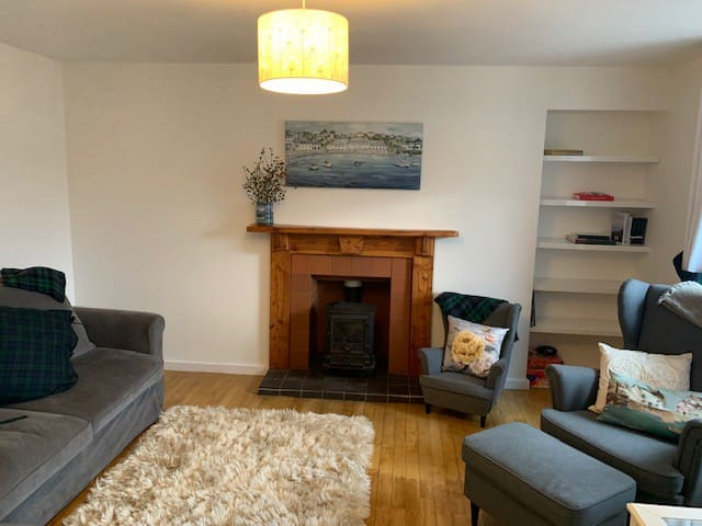 Living room with views of Loch Broom
