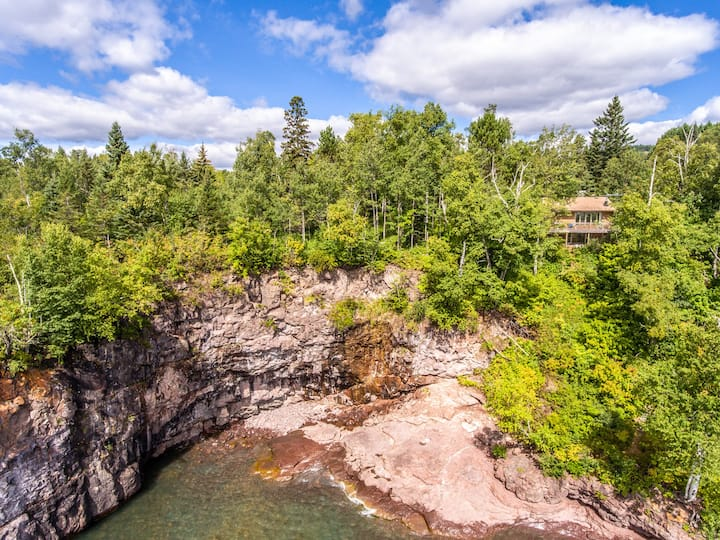Cathy`s Cove is in a great location with a beautiful cascading waterfall and a private cove on Lake Superior